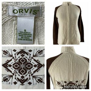 Orvis Women Cardigan Lambswool Blend Sweater Zip S